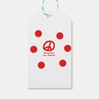 Étiquettes-cadeau Langue et conception mongoles de symbole de paix