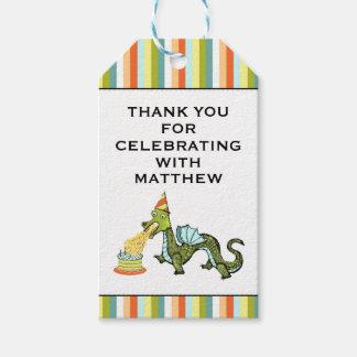 Étiquettes-cadeau l'anniversaire de dragon vous remercient