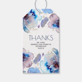 Étiquettes-cadeau L'aquarelle bleue Boho floral fait varier le pas