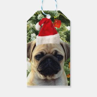 Étiquettes-cadeau L'arbre de Noël de chiot de carlin ornemente le