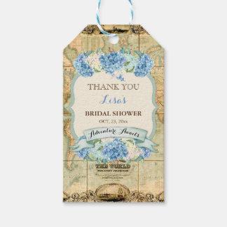 Étiquettes-cadeau L'aventure attend les hortensias vintages de bleu