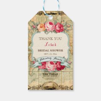 Étiquettes-cadeau L'aventure attend les roses vintages de carte du
