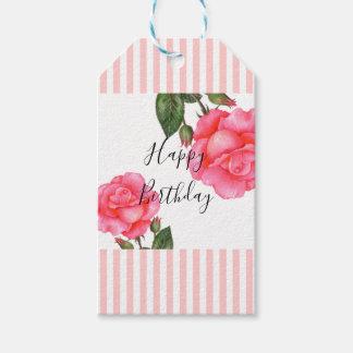 Étiquettes-cadeau Le blanc de rose de rose d'aquarelle barre le