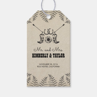 Étiquettes-cadeau Le cowboy chausse M. et Mme de mariage campagnard