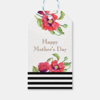 Étiquettes-cadeau Le jour de mère floral d'art de pavots rouges