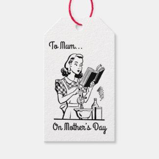 Étiquettes-cadeau Le jour de mère noir et blanc vintage