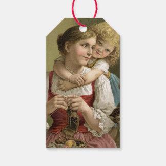 Étiquettes-cadeau Le jour de mère vintage de mère et d'enfant