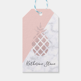Étiquettes-cadeau Le marbre blanc de parties scintillantes roses