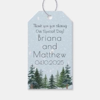 Étiquettes-cadeau Le mariage moderne de pin d'hiver favorise
