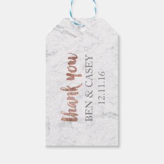 Étiquettes-cadeau Le mariage rose de typographie de marbre d'or de