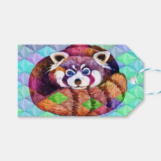 Étiquettes-cadeau Le panda rouge concernent le cubisme de turquoise