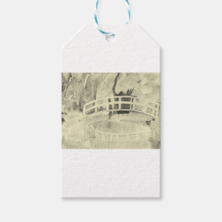 Étiquettes-cadeau Le pont japonais de Monet noir et blanc