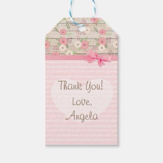 Étiquettes-cadeau Le rose de baby shower de Merci fleurit