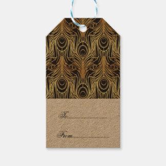 Étiquettes-cadeau l'or, noir, motif de paon, nouveau d'art, cru,