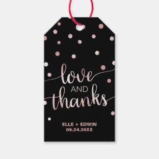 Étiquettes-cadeau L'or rose et noircissent de mercis de | le mariage