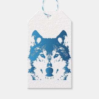 Étiquettes-cadeau Loup de bleu glacier d'illustration