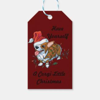 Étiquettes-cadeau Lumières de Noël de Noël de chiot de corgi de