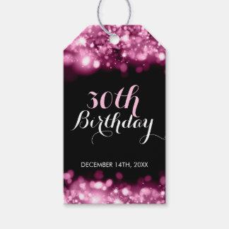 Étiquettes-cadeau Lumières de scintillement roses de 30ème