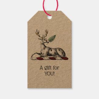Étiquettes-cadeau Mâle de cerfs communs avec l'emblème héraldique de