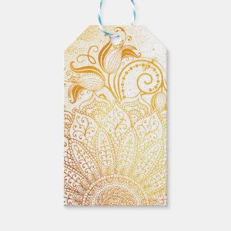 Étiquettes-cadeau Mandala - brosse d'or
