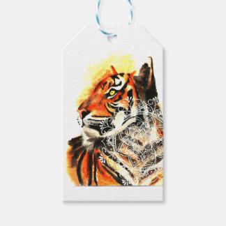 Étiquettes-cadeau Mandala de tigre d'aquarelle