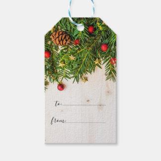 Étiquettes-cadeau Manuscrit en bois rustique de Joyeux Noël de