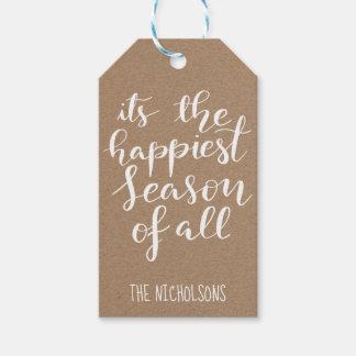 Étiquettes-cadeau Manuscrit rustique de saison le plus heureux du