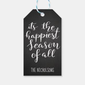 Étiquettes-cadeau Manuscrit vintage de saison le plus heureux du