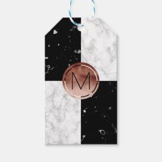 Étiquettes-cadeau Marbre rose de blanc de noir d'or de monogramme
