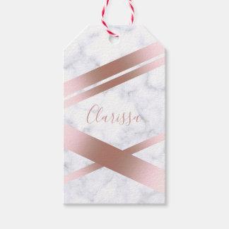 Étiquettes-cadeau Marbre rose girly élégant élégant de blanc d'or