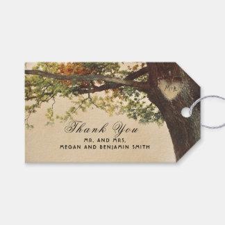Étiquettes-cadeau Mariage de coeur découpé par arbre rustique