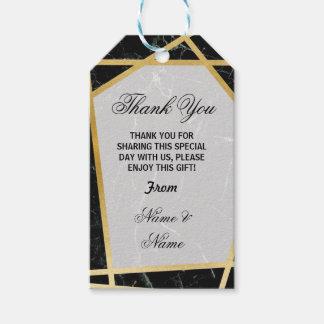 Étiquettes-cadeau Mariage de marbre noir d'or de faveur d'étiquettes