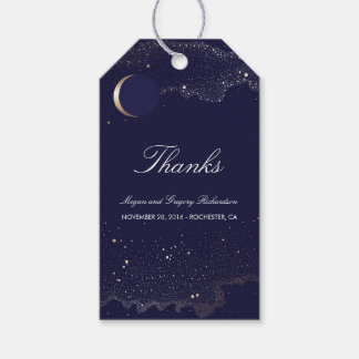 Étiquettes-cadeau Mariage de marine et d'or de croissant de lune de