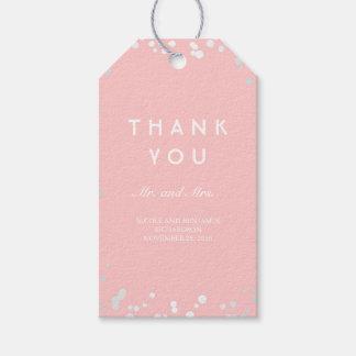 Étiquettes-cadeau Mariage élégant de confettis argentés et roses