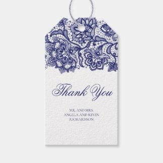 Étiquettes-cadeau Mariage élégant de dentelle de bleu marine