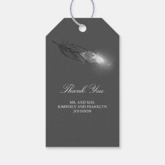 Étiquettes-cadeau Mariage élégant de plume argentée de scintillement