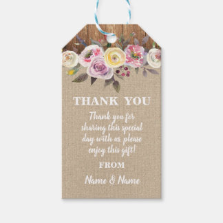 Étiquettes-cadeau Mariage floral de toile de jute en bois de