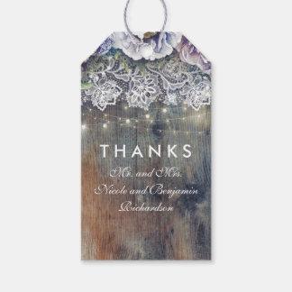 Étiquettes-cadeau Mariage floral rustique vintage bleu et marron