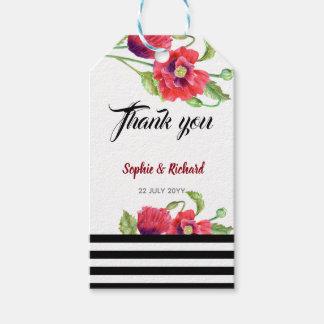 Étiquettes-cadeau Mariage floral sauvage de pavots rouges