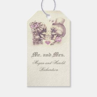 Étiquettes-cadeau Mariage pourpre vintage de couples de crâne