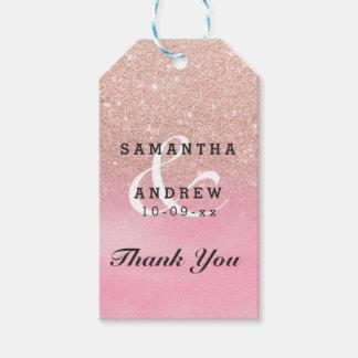 Étiquettes-cadeau Mariage rose d'ombre d'aquarelle de rose de