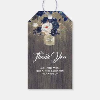 Étiquettes-cadeau Mariage rustique floral de pot de maçon de marine