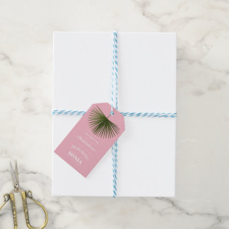 Étiquettes-cadeau Mariage tropical de rose de feuille de fronde de