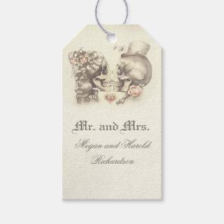 Étiquettes-cadeau Mariage vintage de couples de crâne