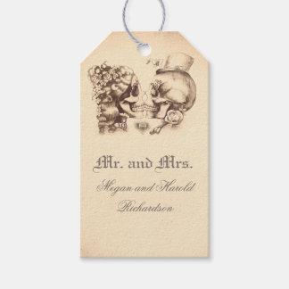 Étiquettes-cadeau Mariage vintage de couples de crâne vieux