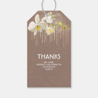 Étiquettes-cadeau Mariage vintage fascinant d'orchidée d'or blanc de