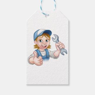 Étiquettes-cadeau Mécanicien ou plombier féminin avec la clé