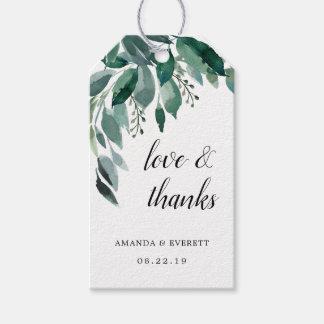 Étiquettes-cadeau Merci abondant de faveur de mariage de feuillage
