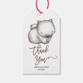 Étiquettes-cadeau Merci australien de neutre de wombat