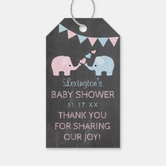 Étiquettes-cadeau Merci de baby shower d'éléphants de garçon jumeau